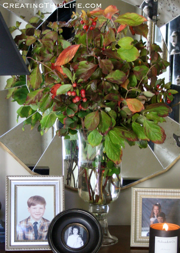 Fall Yard Clippings Arrangement at CreatingThisLife.com