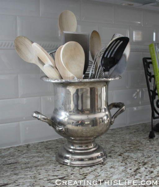 Kitchen Utensil Holder at CreatingThisLife.com