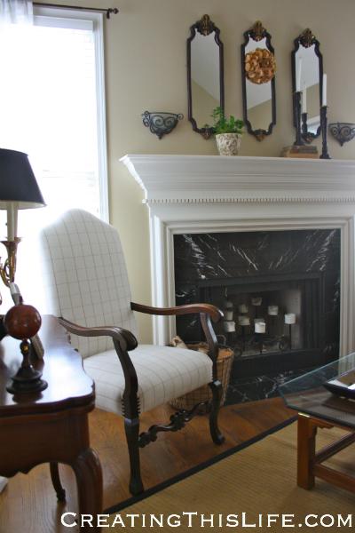 Living room fireplace at CreatingThisLife.com