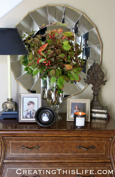 fall floral arrangement from yard clippings at CreatingThisLife.com