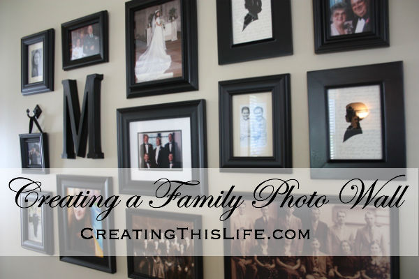 Creating a Family Photo Wall at CreatingThisLife.com