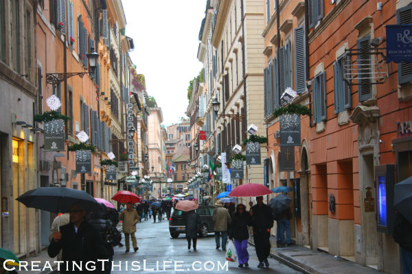 Rome street at Christmas