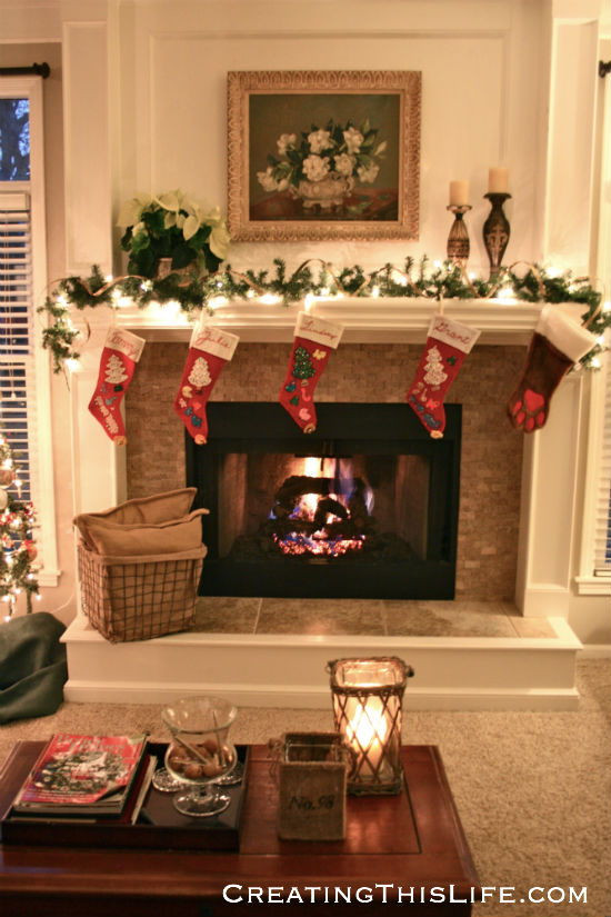 Christmas fireplace family room