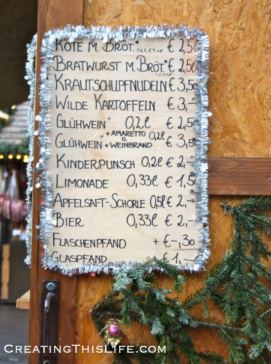 Esslingen Germany Christmas Market Menu