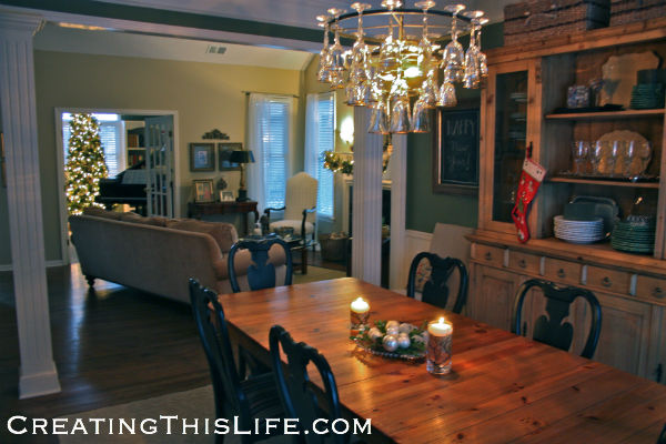 Dining room with winter centerpiece