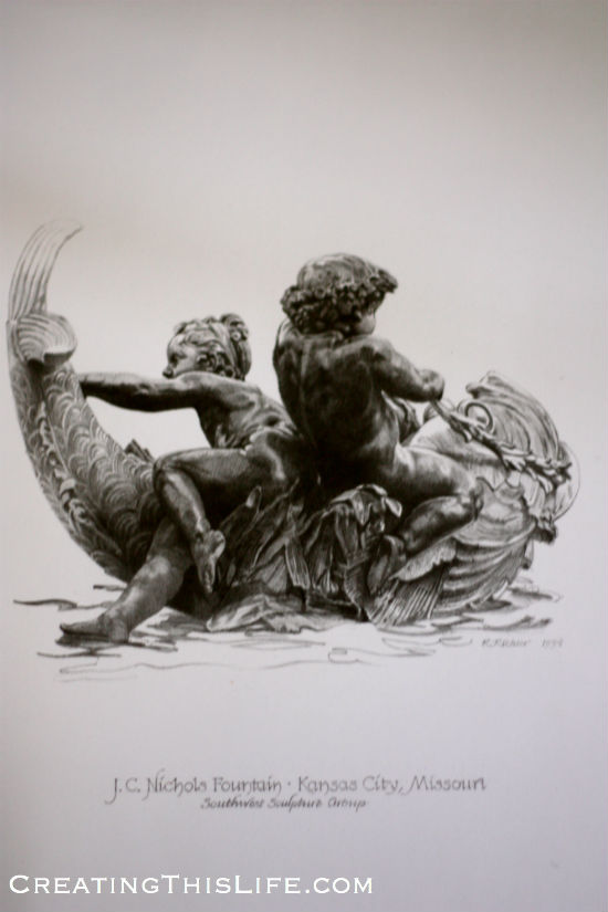 Kansas City Southwest Sculpture Cherubs Drawing