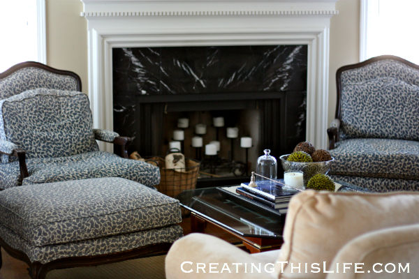 french chairs and ottoman