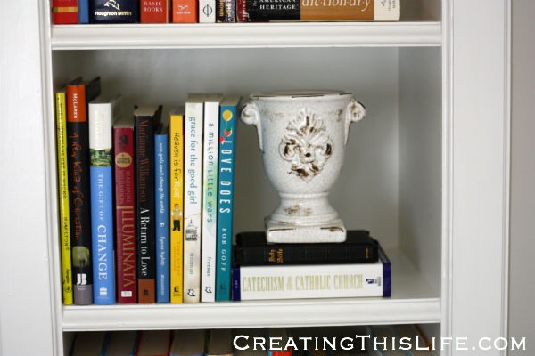 Spirituality books in home office