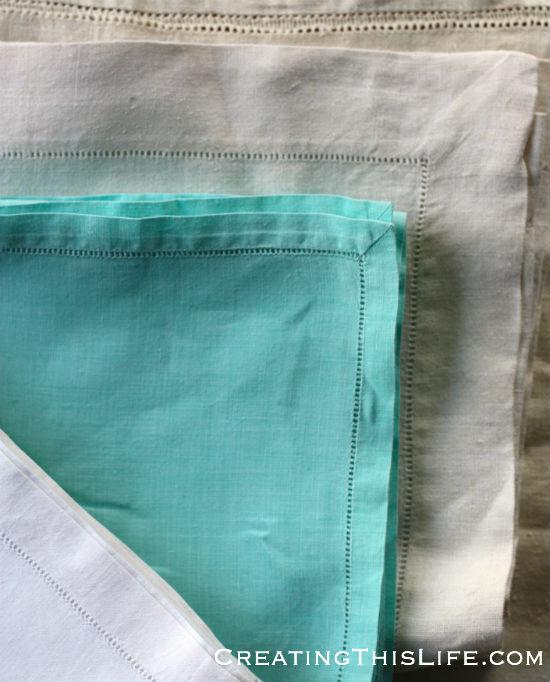hemstitch runners and napkins