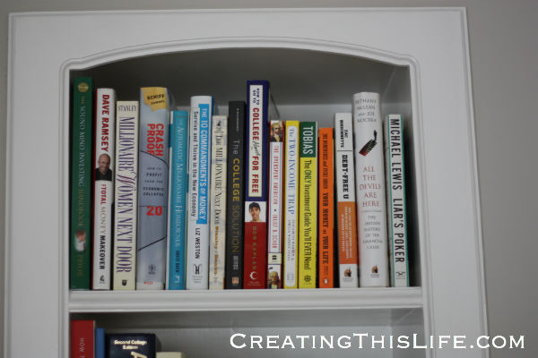 home office personal finance bookshelf