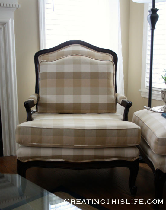 vintage bergere chair reupholstered in buffalo check fabric