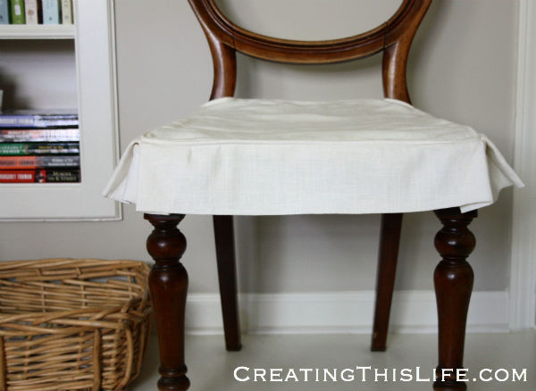 Linen skirted slipcover for antique chair