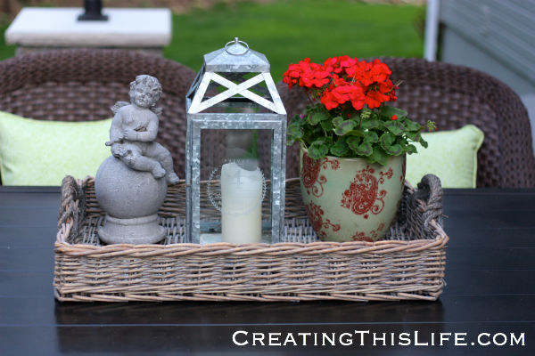 Patio table decor at CreatingThisLife.com