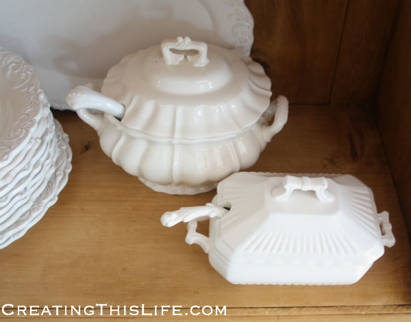 Vintage white soup tureens with lids and ladels