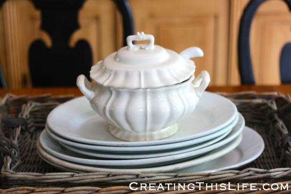 White lidded soup tureen with handle