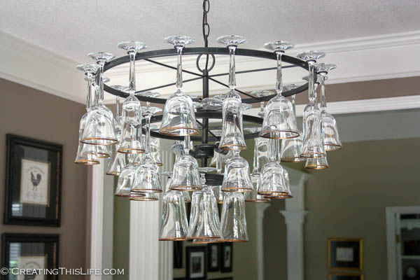 Wine glass chandelier creating this life pottery barn wine glass chandelier aloadofball