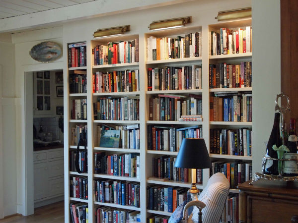 Bookshelves at Nell Hills Mary Carol Garritys new home