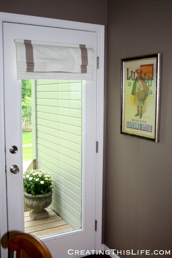 Roman shade vintage poster potted mums at CreatingThisLife.com