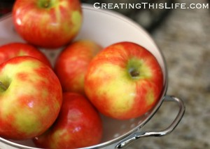 Apples in colander
