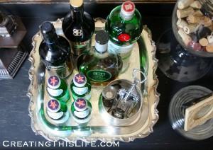 Butler's Tray as Bar Cart