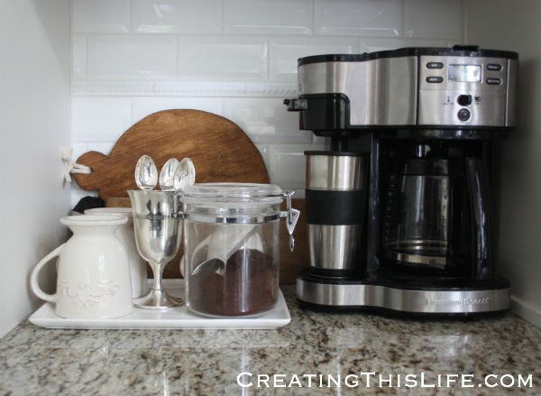 Coffee station at CreatingThisLife.com