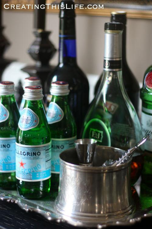 Liquor tray in dining room