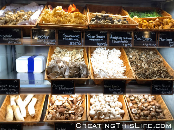 Mushroom selection at Eataly Chicago