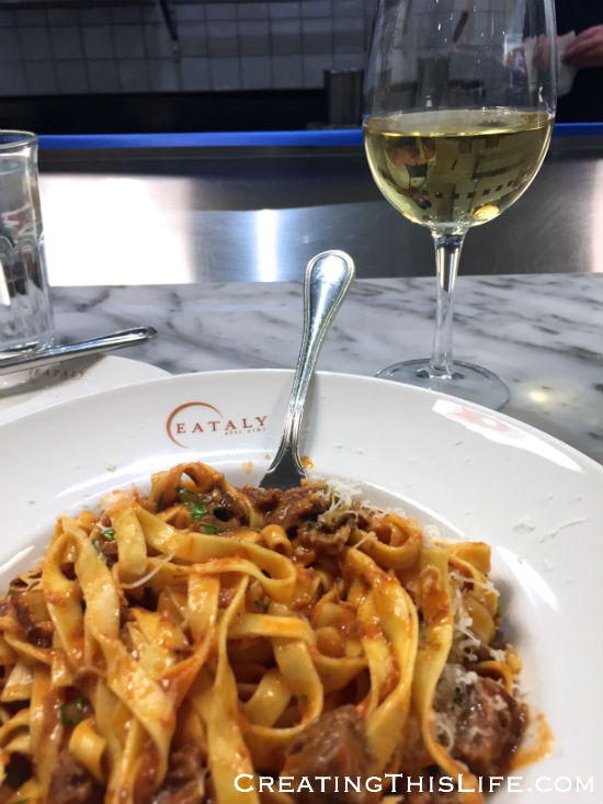 Pasta dish at Eataly Chicago