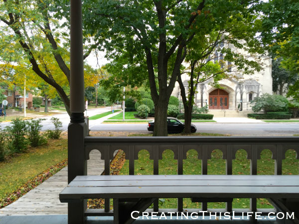 View from the porch of Ernest Hemingway birthplace in Oak Park IL