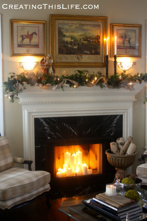 Christmas mantel at CreatingThisLife.com