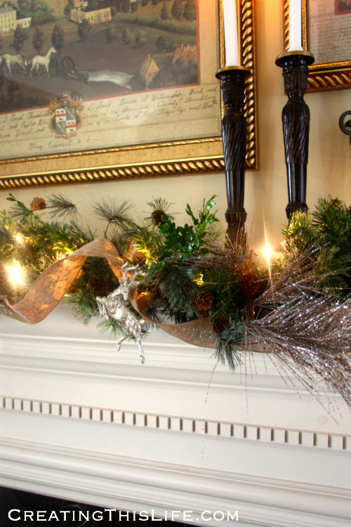 Christmas mantel garland at CreatingThisLife.com