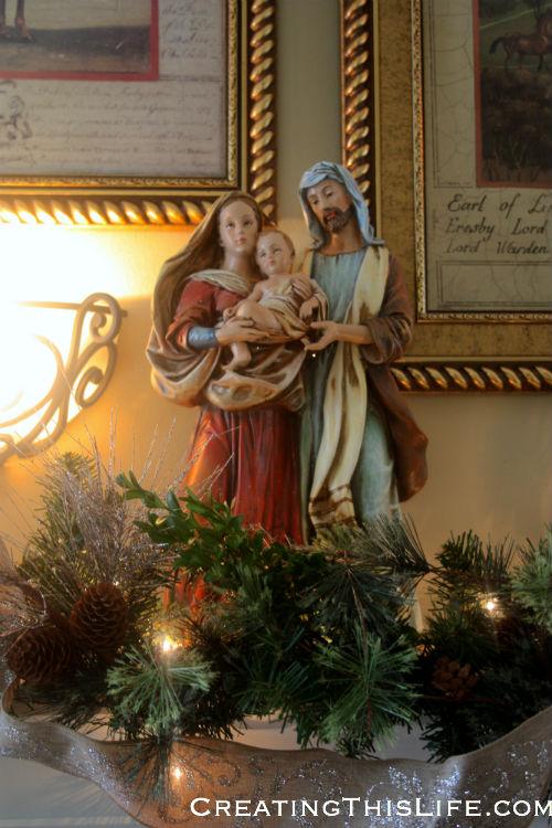 Holy Family mantel decoration