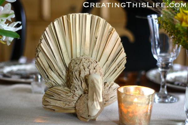 Straw turkey table decoration