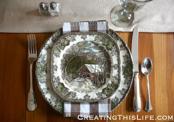 Thanksgiving Table with Friendly Village Dishes