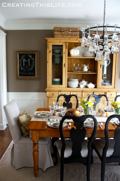 Thanksgiving dining room at CreatingThisLife.com