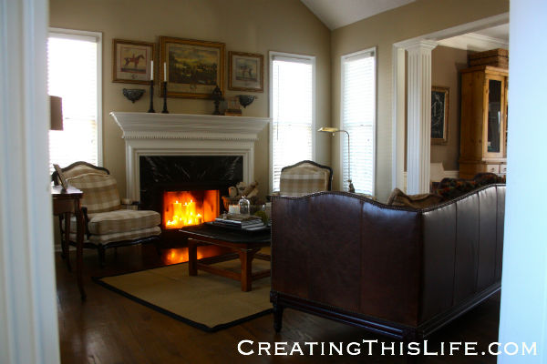 Traditional living room at CreatingThisLife.com