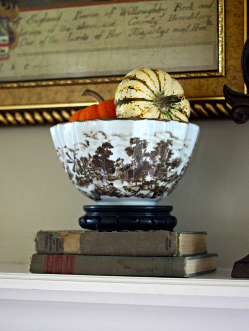 Brown and white toile bowl with pumpkins for fall
