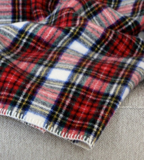 Plaid wool blanket detail