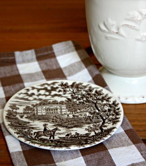 Vintage plate as coaster
