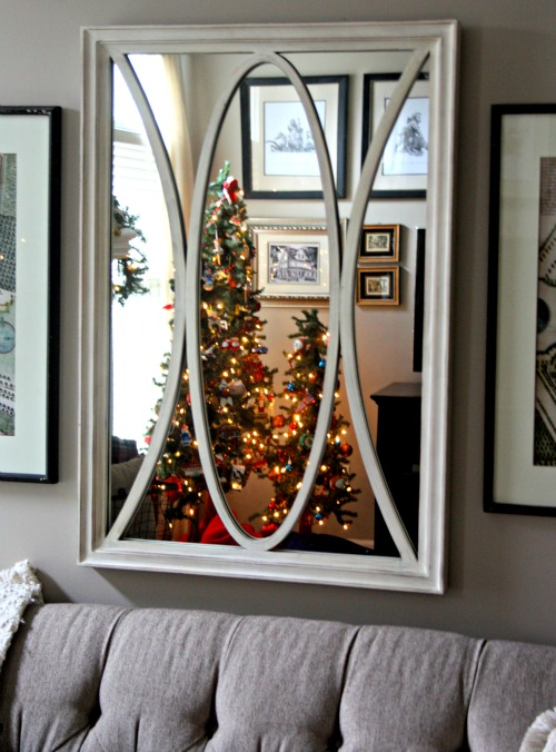 Christmas trees in mirror reflection