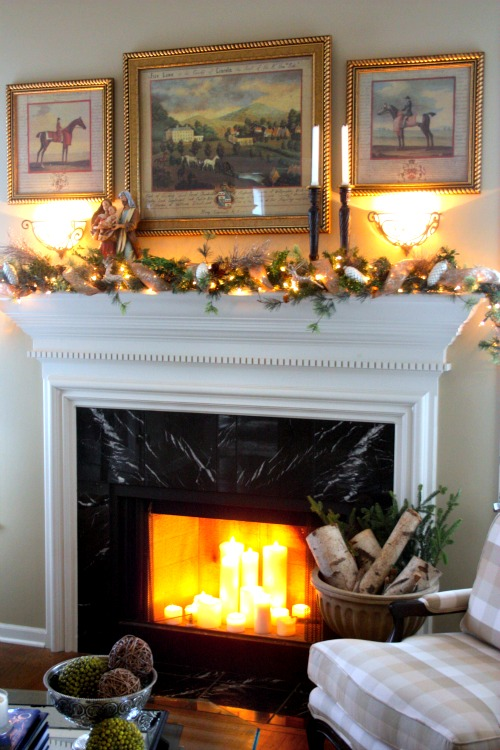 Fireplace Mantle with Christmas Garland