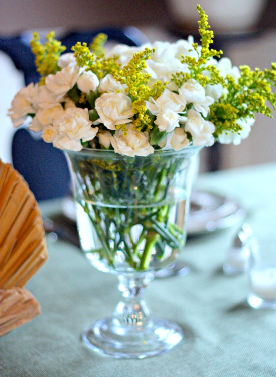 White holiday flower arrangement