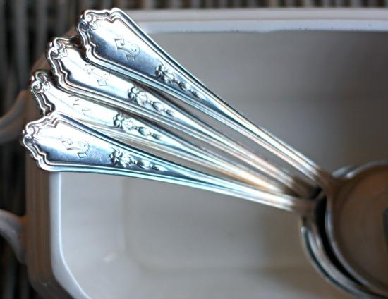 monogrammed vintage soup spoons
