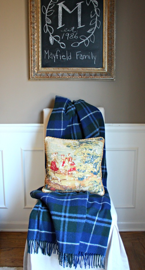 Plaid wool blanket toile pillow