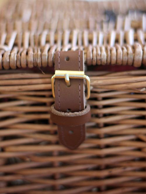 Wicker hamper buckle detail