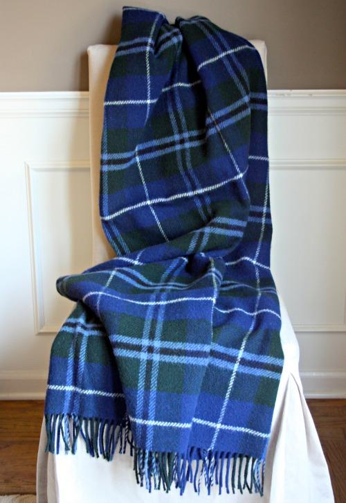 Wool plaid blanket made in scotland