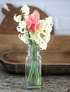 Vintage Jars and Spring Blooms
